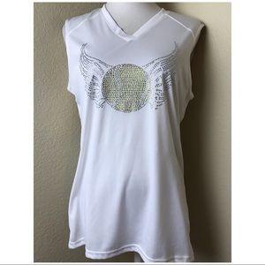 NWT White Tennis Ball Design Shirt. Sz L